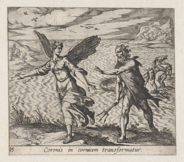 Plate 15: The Daughter of Croneus Changed into a Cow (Coronis in cornicem transformatur), from Ovid's 'Metamorphoses'