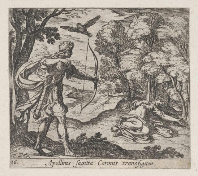 Plate 16: Apollo Killing Coronis (Appolinis sagitta Coronis transfigitur), from Ovid's 'Metamorphoses'