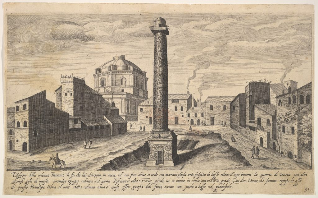 Plate 31: view of the column of Trajan, shown with its pedestal dug out from the earth, surrounded by buildings at the base of the Quirinal Hill, Rome, from the series 'Ruins of the antiquity of Rome, Tivoli, Pozzuoli, and other places' (Vestigi della antichità di Roma, Tivoli, Pozzvolo et altri luochi)