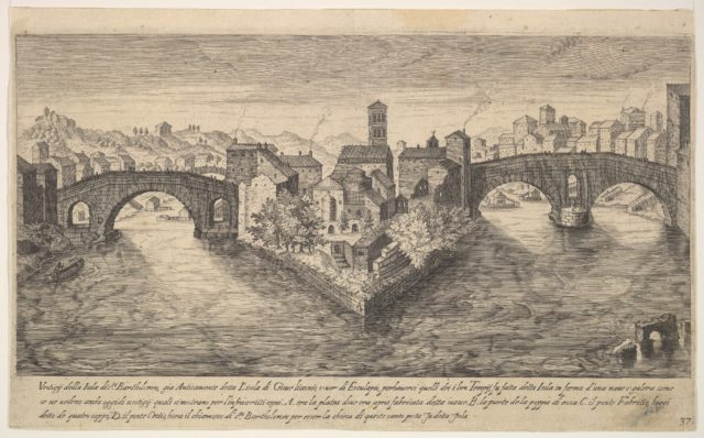 Plate 37: view of the church of San Bartolomeo all'Isola on Tiber Island, Rome, flanked by bridges, from the series 'Ruins of the antiquity of Rome, Tivoli, Pozzuoli, and other places' (Vestigi della antichità di Roma, Tivoli, Pozzvolo et altri luochi)