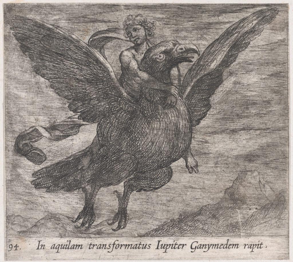 Plate 94: Jupiter and Ganymede (In aquilam transformatus Iupiter Ganymedem rapit), from Ovid's 'Metamorphoses'