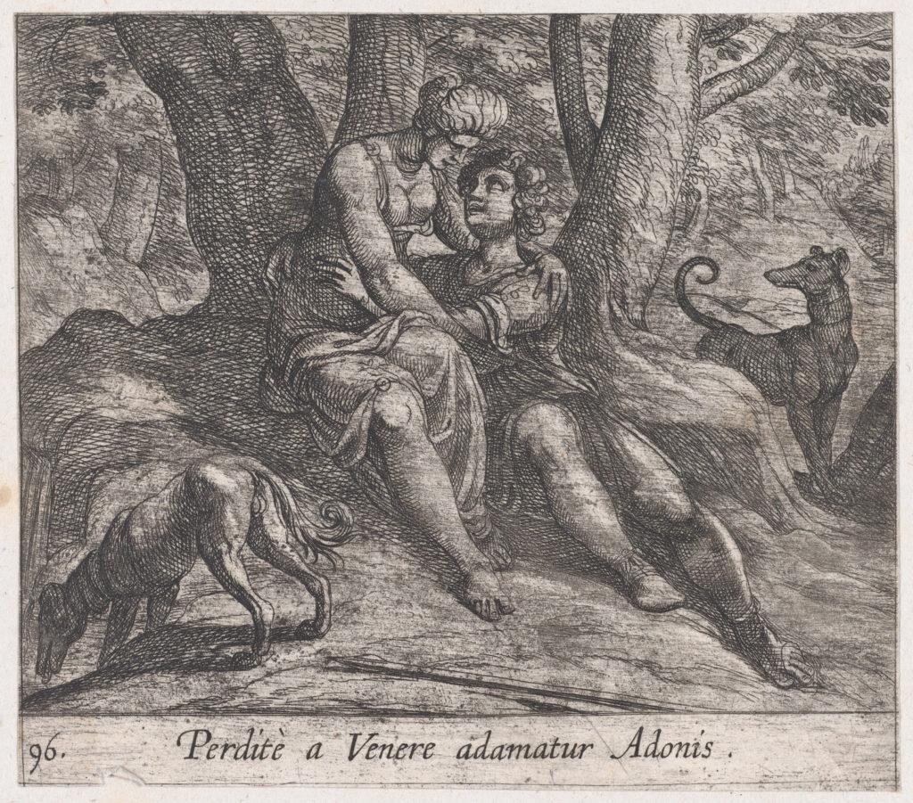 Plate 96: Venus and Adonis Embracing (Perditè a Venere adamatur Adonis), from Ovid's 'Metamorphoses'
