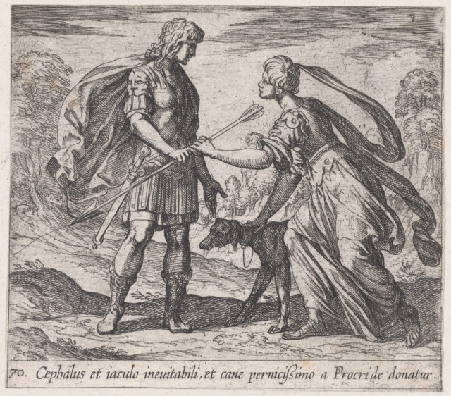 Pltae 70: Procris Giving Cephalus a Dog and a Javelin (Cephalus et iaculo inevitabili, et cane pernicißimo a Procride donatur), from Ovid's 'Metamorphoses'
