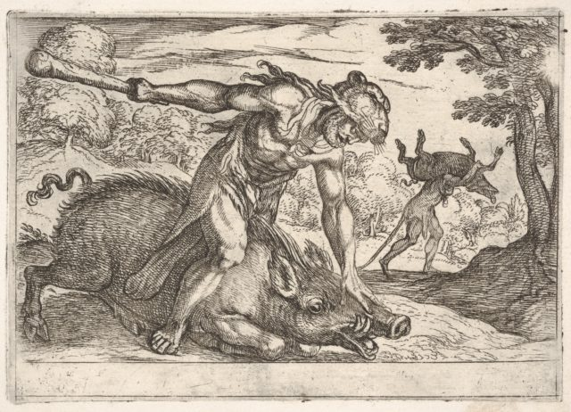 Hercules and the Boar of Erymanthus: Hercules holds down the boar's snout with his left hand and raises his club with his right hand, in the middle ground Hercules carries the boar on his shoulders, from the series 'The Labors of Hercules'