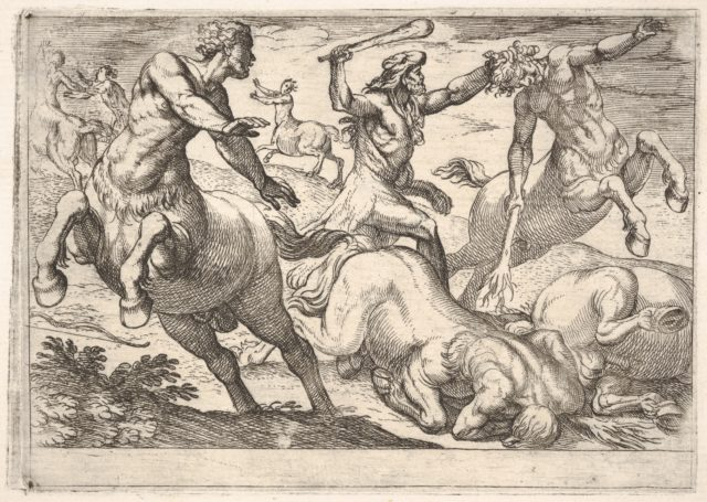 Hercules and the Centaurs: Hercules holds the head of a centaur with his left hand and raises his club with his right hand, in the foreground and background are fallen and fleeing centaurs, from the series 'The Labors of Hercules'