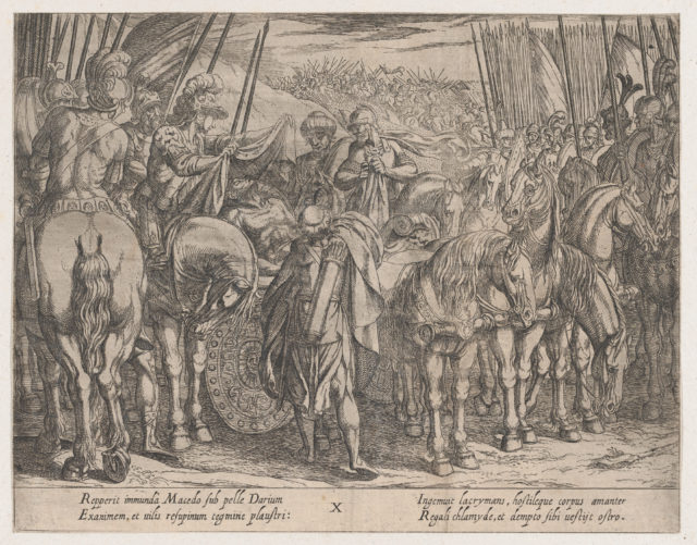 Plate 10: Alexander Finding the Body of Darius, from The Deeds of Alexander the Great,
