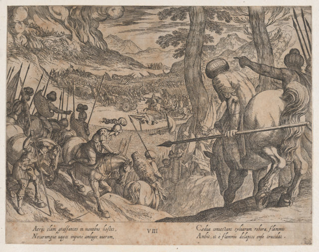 Plate 8: Alexander Encircling the Enemy Troops with Fire, from The Deeds of Alexander the Great