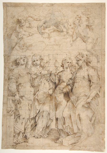 Saint Cecilia, Saint Mary Magdalen, Saint Catherine of Alexandria, and Saint  Agnes, Angels with Palm Branches and Crowns Above (recto); Sketches of Three Standing Figures and Arithmetic Calculations (verso)