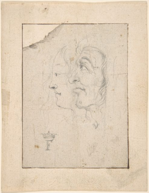 Two Heads of an Old and a Young Woman Looking to the Left (Ages of Woman?)
