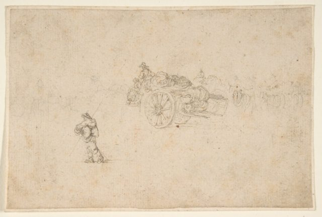 A Loaded Wagon and Several Human Figures.