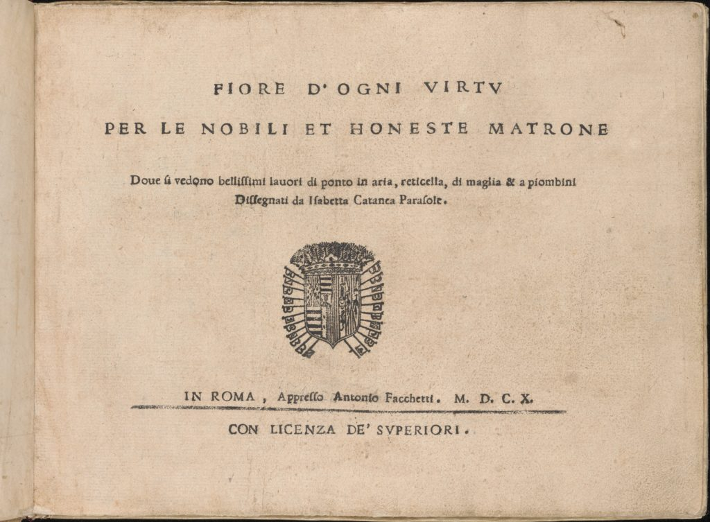 Fiore D'Ogni Virtu Per le Nobili Et Honeste Matrone, title page (recto)