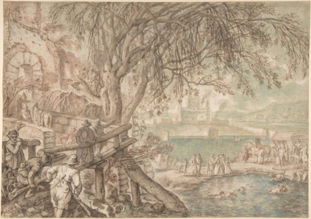 Huntsmen and Company Observing Dogs Retrieving Ducks in a Pond (The Month of April)