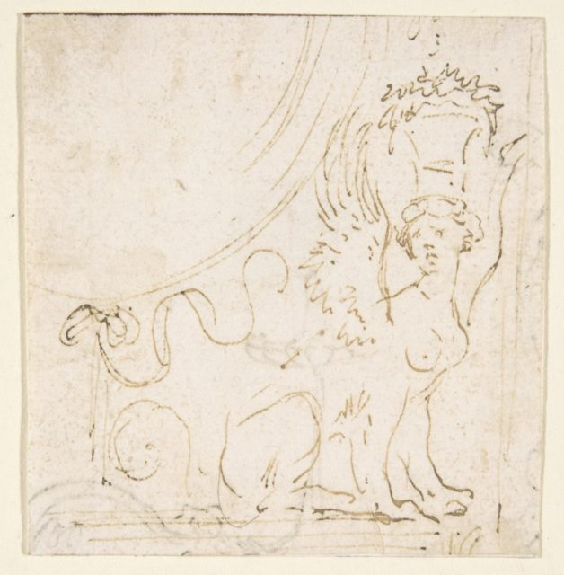 Ornamental Design with a Sphinx Bearing a Vessel on Her Head.