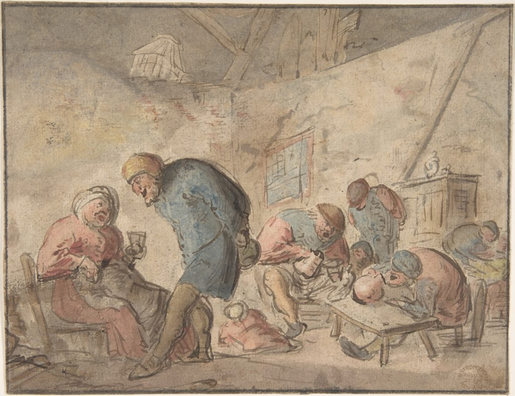 Peasants Drinking  verso: sketches of peasants