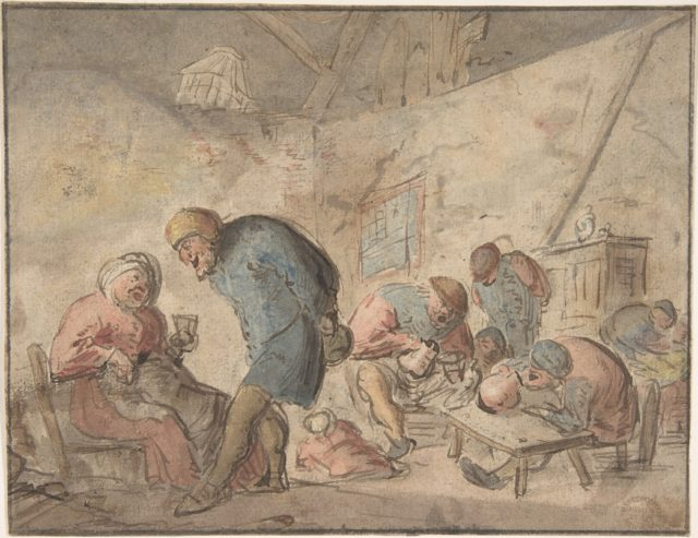 Peasants Drinking  verso: sketches of peasants