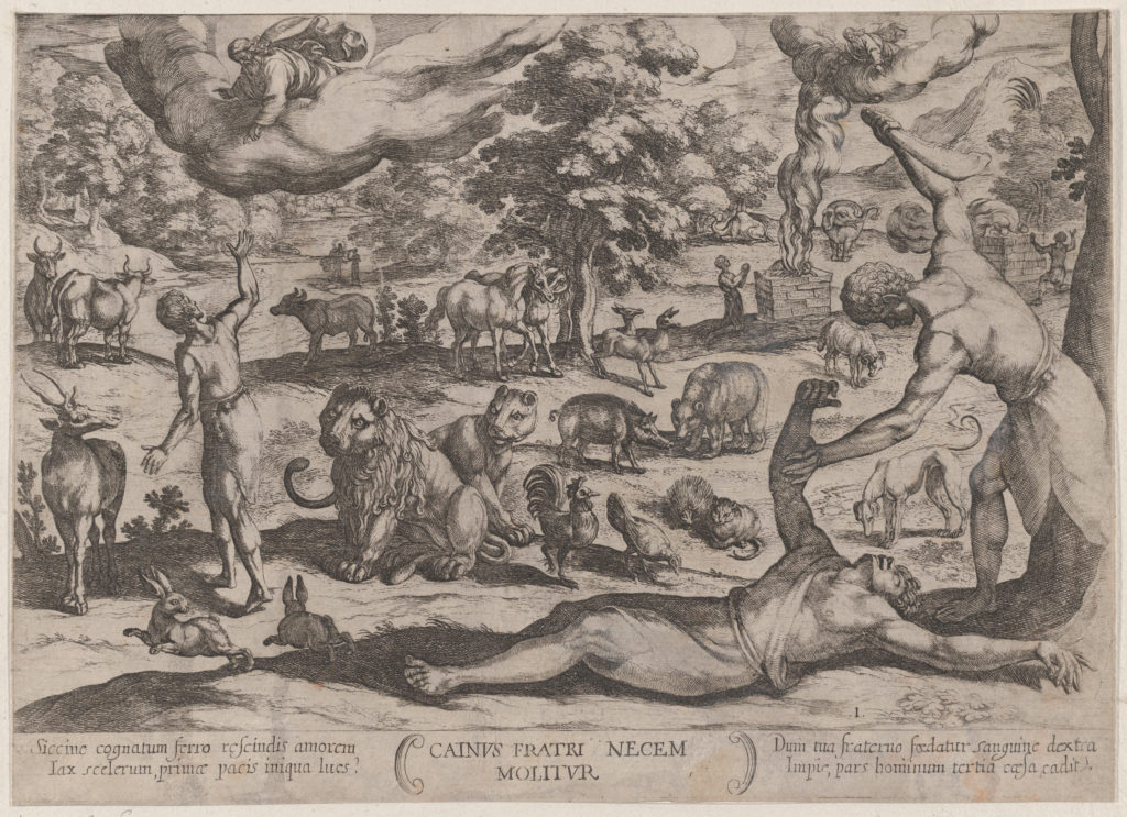 Plate 1: Cain Killing Abel, from 'The Battles of the Old Testament'