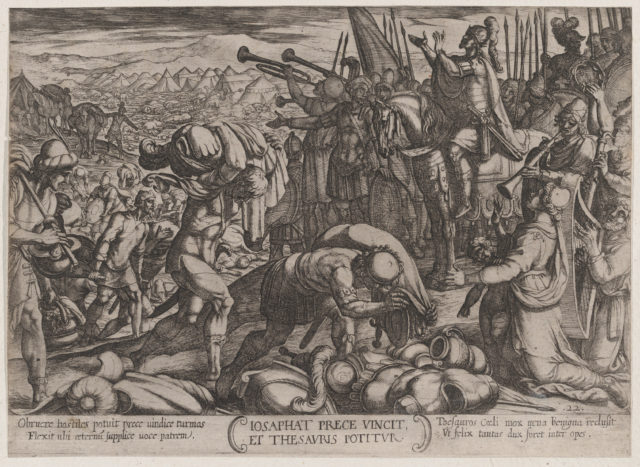 Plate 22: Josaphat Thanking God for His Victory, from 'The Battles of the Old Testament'