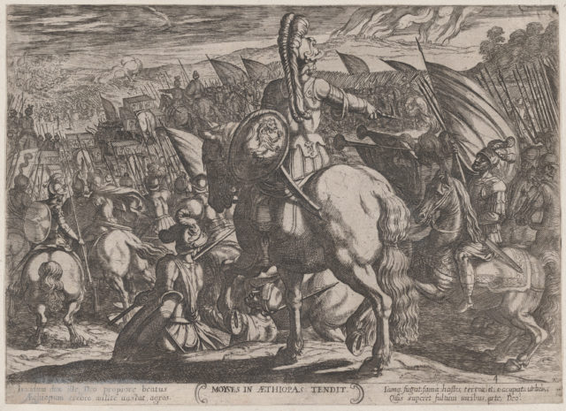 Plate 4: Moses Ordering the Israelites to Attack the Ethiopians, from 'The Battles of the Old Testament'