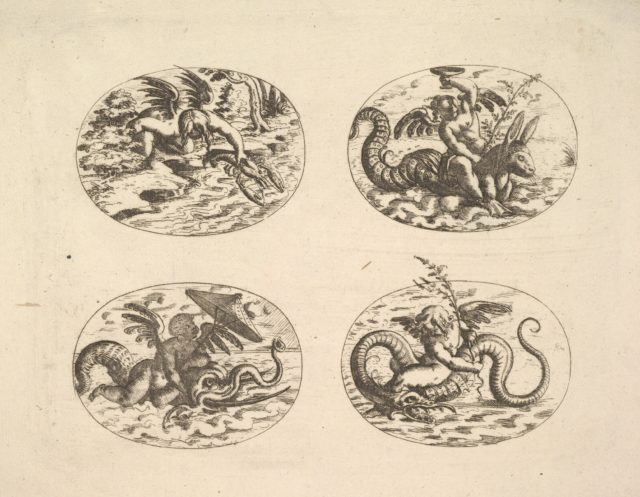 Putti with Sea Monsters, plates from the Neue Grotessken Buch