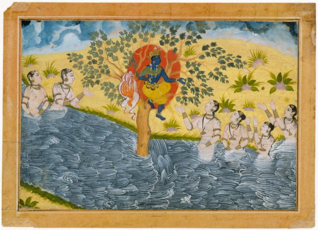 The Gopis Plead with Krishna to Return Their Clothing, Page from a Bhagavata Purana (Ancient Stories of Lord Vishnu) series