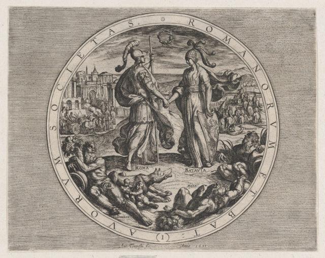 Plate 1: Roma and Batavia Shaking Hands, from The War of the Romans Against the Batavians (Romanorvm et Batavorvm societas)