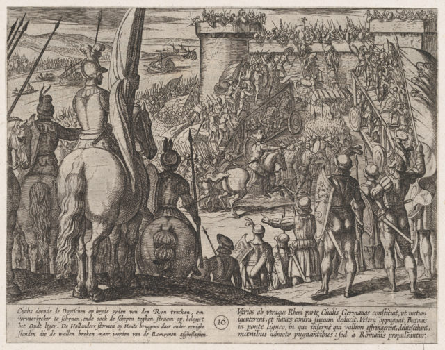 Plate 10: Civilis using Movable Wooden Bridges to Attack the Fortress, from The War of the Romans Against the Batavians (Romanorvm et Batavorvm societas)