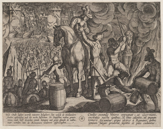 Plate 13: Attack on the Roman Fortress at Night, from The War of the Romans Against the Batavians (Romanorvm et Batavorvm societas)