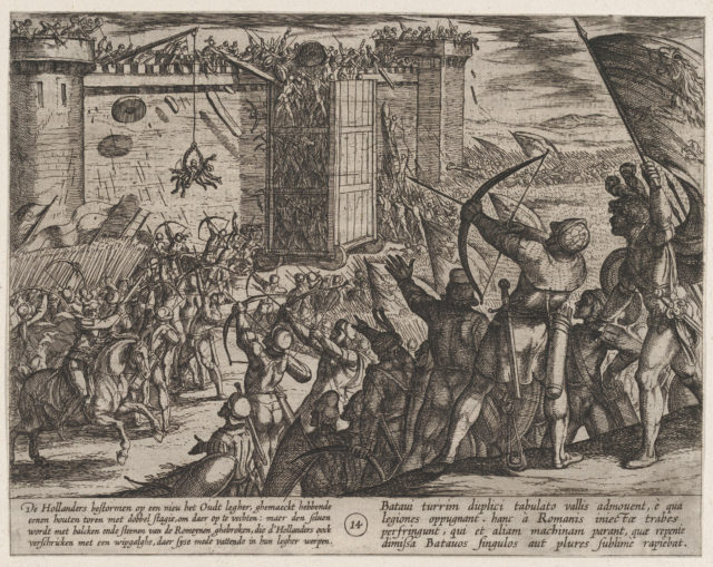 Plate 14: New Attack on the Old Fortress, from The War of the Romans Against the Batavians (Romanorvm et Batavorvm societas)
