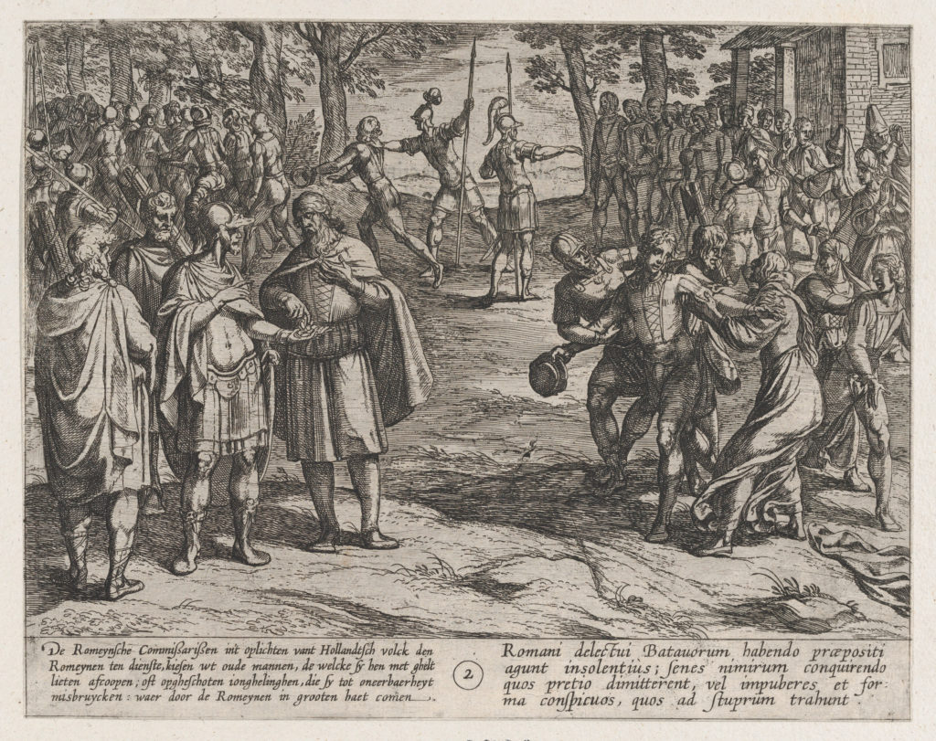Plate 2: The Romans Taking Old Dutch Men as Hostages and Seducing Young Ones, from The War of the Romans Against the Batavians (Romanorvm et Batavorvm societas)