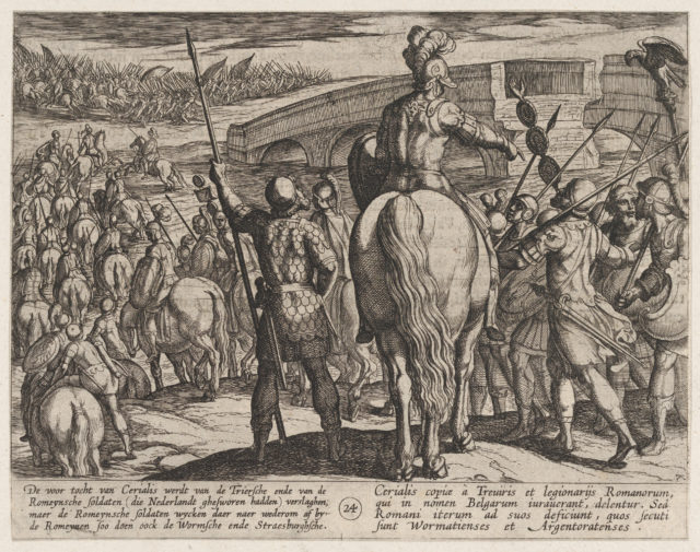 Plate 24: The Advance Guard of the New Roman Troops Turned Back, from The War of the Romans Against the Batavians (Romanorvm et Batavorvm societas)