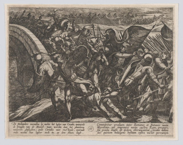 Plate 27: The Dutch During a Surprise Attack of the Roman Camp on the Moselle, from The War of the Romans Against the Batavians (Romanorvm et Batavorvm societas)