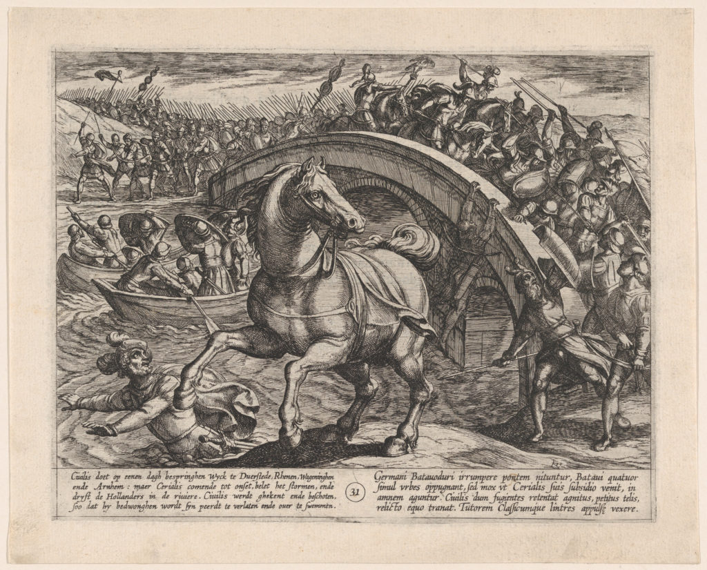 Plate 31: Civilis Forced to Dismount and Swim Across the River, from The War of the Romans Against the Batavians