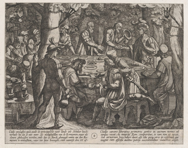 Plate 4: Civilis tells the Dutch Elders that They are Being Treated Like Slaves by the Romans, from The War of the Romans Against the Batavians (Romanorvm et Batavorvm societas)