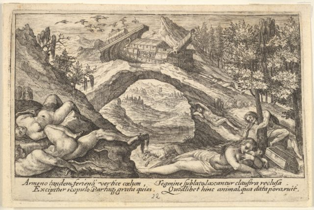 Aftermath of the Flood: human bodies strewn on dry land in the foreground, Noah's ark moored on a rocky outcrop beyond, from a series of engravings for the 'Liber Genesis'