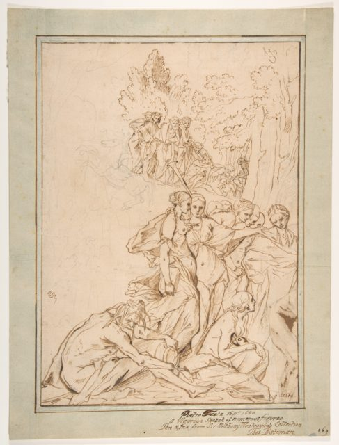 Allegorical Figures on Mount Parnassus: Study for the etching Triumph of Painting
