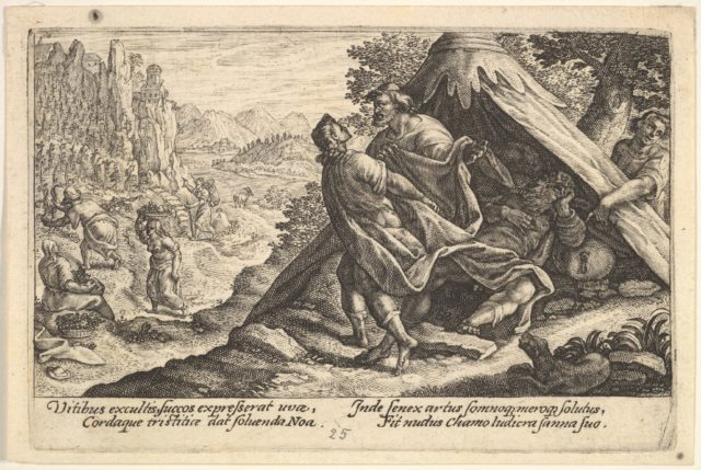 Drunkenness of Noah: Shem and Japheth cover the naked body of Noah, who lies in a tent, a male figure at far right points to Noah, from a series of engravings made for the first edition of the 'Liber Genesis'