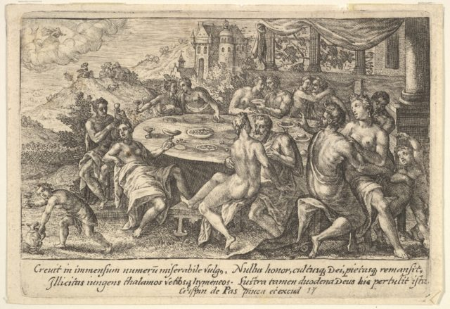 Mankind surrendering to lechery before the Flood: embracing couples on benches around a table with food and drink, from a series of engravings made for the first edition of the 'Liber Genesis'