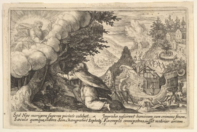 Noah kneeling before God at left, the construction of the ark underway beyond, from a series of engravings made for the first edition of the 'Liber Genesis'