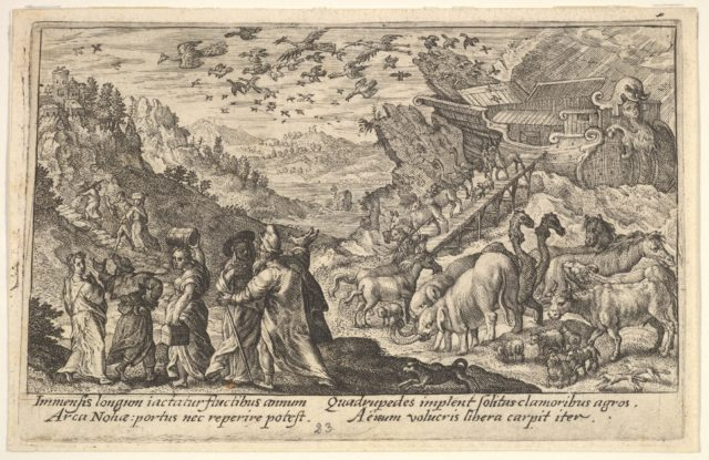 Noah leaving the ark with his family and animals: at left Noah's family carries supplies, at right animals descend on a ramp from the ark, above birds fly from the ark, from a series of engravings for the 'Liber Genesis'