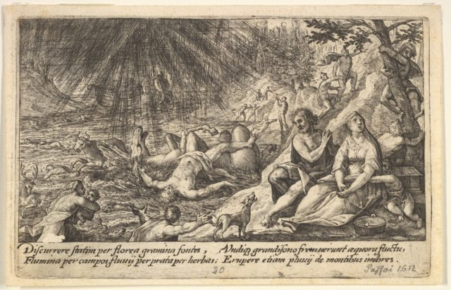 The beginning of the Flood: men and women climb to higher ground at right, water overtaking animals and people at left, Noah's Ark beyond, from a series of engravings made for the first edition of the 'Liber Genesis'