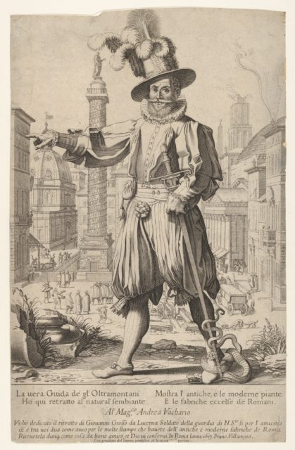 Giovanni Alto (Johann Alten, Ioannes Altus) standing on the Quirinal Hill in Rome, with his right arm outstretched in a pointing position and a snake coiled around his foot and sword