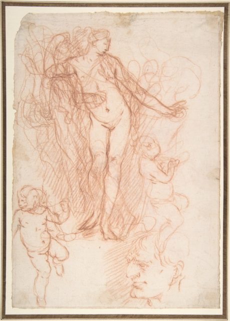 (R.)Figure Studies: Standing Nude Figure, Putti, and a Man's Head (V.) Figure Studies: A Flying and a Standing Man