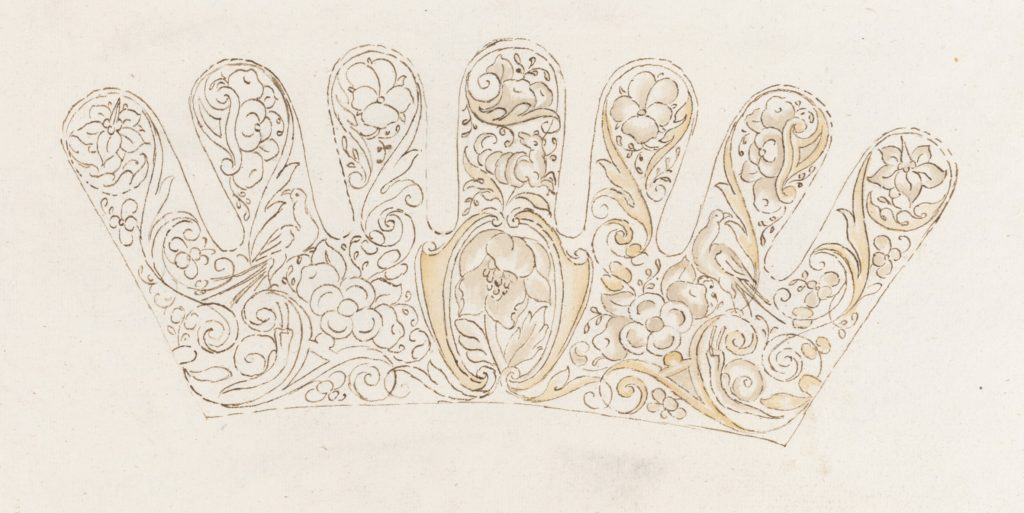 Album of designs for embroidery: bodices, gauntlets, caps, bags, page 57 (recto)