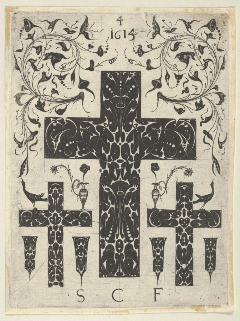 Blackwork Print with Three Crosses and Foliate Scrolls, from a Series of Blackwork Prints for Goldsmiths' Work