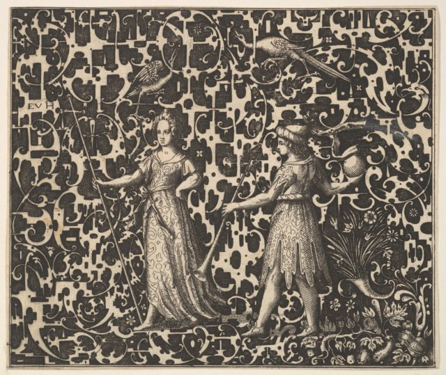 Ornament Print with Schweifwerk and Two (Allegorical?) Figures