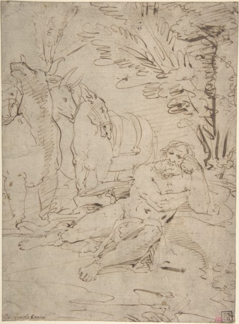 Unidentified Subject:  Reclining Nude Male Figure and Cattle