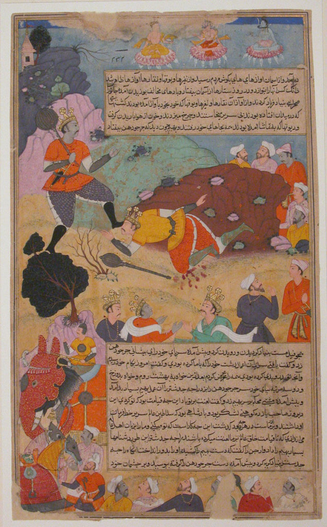 """Bhima Defeates Duryodhana"", Folio from a Razmnama"