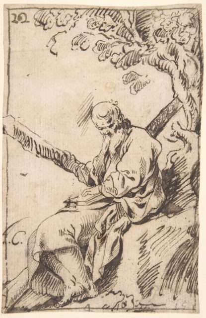 Figure of St. Andrew seated in a Landscape