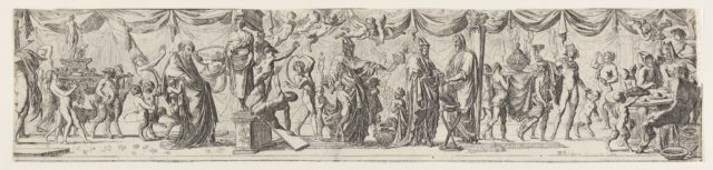 Frieze-like composition of figures walking alongside draped curtains: at left satyrs and children bear a statue of Bacchus on a litter behind an old man (Silenus?), at center two robed satyrs approach a priest, at right Apollo lifts a cup next to satyrs seated at a round table