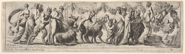 Procession of satyrs and draped figures leading two goats and cow to sacrifice, at right the figure of Pan stands on a rocky pedestal, from a series of twelve frieze-like designs showing bacchanals, sacrifices, and dances